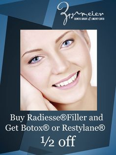 Buy Radiesse®  Filler during the month of October and get Botox® or Restylane® 1/2 Off!  Radiesse $750 per syringe  Smooth away facial wrinkles and folds.   May not be combined with other promotions