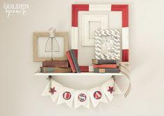 love those striped frames -  Vintage Patriotic Decor