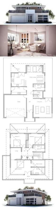 Modern House Plan with three bedrooms, two living areas, double garage. Floor Plan from ConceptHome.com