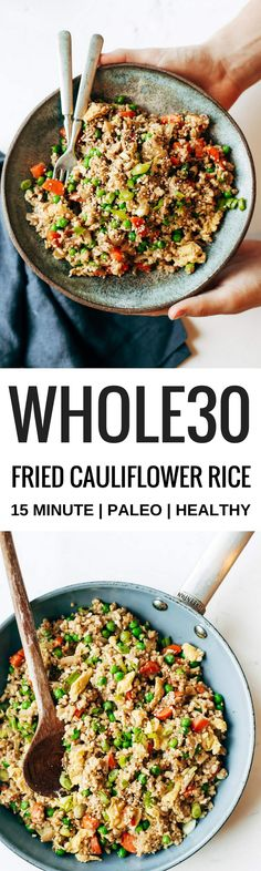 Easy 10 minute fried cauliflower rice- whole30 and paleo!   Posted By: DebbieNet.com