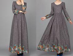 Leinen+Retro+Langarm-Herbst-Maxi+Kleid++von+ChineseHut+auf+DaWanda.com