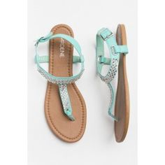 Silver bling t-strap turquoise sandals