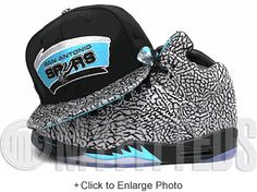 53a00a0caf2 San Antonio Spurs Jet Black Elephant Print Teal Silver Air Jordan V 3Lab5 New  Era Snapback