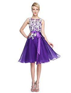 7a688ec0248 Lanting Bride® Μέχρι το γόνατο Δαντέλα Οργάντζα Ανοικτή Πλάτη Όμορφη Πλάτη  Φόρεμα Παρανύμφων - Γραμμή Α Με Κόσμημα μεΔιακοσμητικά