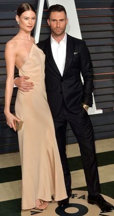 Adam Levine and Behati Prinsloo At the 2015 Vanity Fair Oscars Party