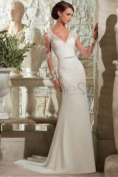 Sanduhr Etui Reißverschluss Chiffon V-Ausschnitt lange Ärmel bodenlanges Brautkleider