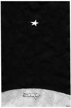 "illustration by Troche man with star ---""Everything passes away-suffering,pain, blood, hunger,pestilence. The sword will pass away too, but the stars will remain when the shadows of our presence and our deeds have vanished from the Earth. There is no man who does not know that. Why, then, will we not turn our eyes toward the stars? Why?"" -- M. Bulgakov"