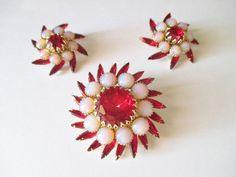 JUDY LEE Retro Red Rhinestone Opal Art Glass Pin Brooch Clip On Earrings Set  #JudyLee #LayeredPinBroochClipOnsRetroDesigner