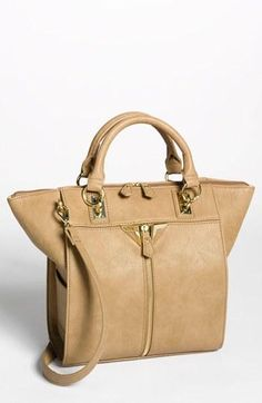 Beautiful taupe leather satchel!