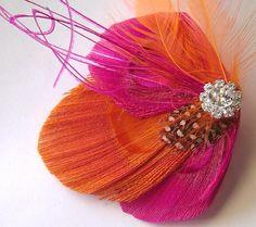 ORANGE SHERBERT Feather and Rhinestone Hair Fascinator Clip