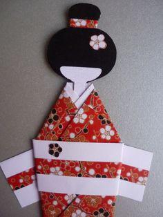 Fazer uma gueixa em origami é muito simples e ficam lindas...      Marcador para livro - Gueixa em origami        Ingredientes utilizados:...