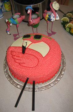 Cool Flamingo in Sunglasses birthday cake