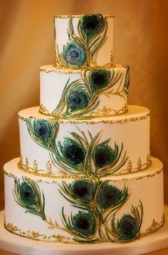 Beautiful Peacock Round Wedding Cakes