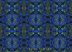 Andrianon-3-24 Textura de patron en colores verdes, azules, amarillos y negros.