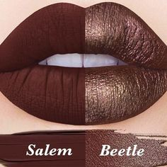 Available now on Limecrime.com/Bundles ✨ Sister shades to suit your mood!  One of three NEW bundled duos ($30) - Featuring liquid-to-matte #Velvetine in 'Salem' (left) and metallic lipstick #Perlees in NEW shade 'Beetle' (right)