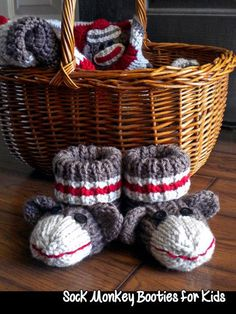 Looking for your next project? You're going to love Sock Monkey Booties for Kids by designer AuntJanet.