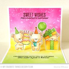 Handmade card from Donna Mikasa featuring Big Birthday Sentiments stamp set, Birdie Brown Beary Special Birthday stamp set and Die-namics and Pop-Up Elements Wide Die-namics #mftstamps