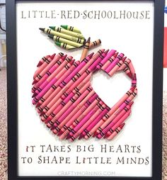 "This is the most creative crayon idea I have ever seen! A little red apple with a heart in the middle made of only CRAYONS! She then included the quote ""It takes big hearts to shape little minds"" what a great gift for teachers! This was made by Masha Dasha Designs who does tons of …"