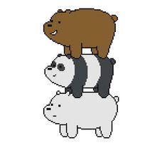 Free Bear Stack Cross Stitch Pattern We Bare Bears Grizz Panda and Ice Bear by Cross Stitch Quest