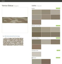 Venice Statue. Artigiano. Living area. Daltile. Behr. Ralph Lauren Paint. Sherwin Williams. Valspar Paint. Olympic.  Click the gray Visit button to see the matching paint names.