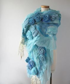 Nuno felted scarf ruffle - Blue flower wedding bride scarf