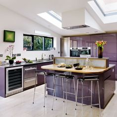 Kitchen layout | Be inspired by a dusky plum open-plan kitchen | Kitchen tour | PHOTO GALLERY | Beautiful Kitchens | Housetohome.co.uk