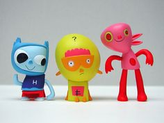 kidrobot, jon burgerman's heroes of burgertown figures: tiny hero, collie, piccalilicus