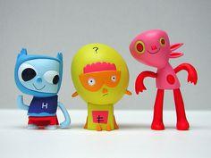 kidrobot, jon burgerman's heroes of burgertown figures: tiny hero, collie, piccalilicus