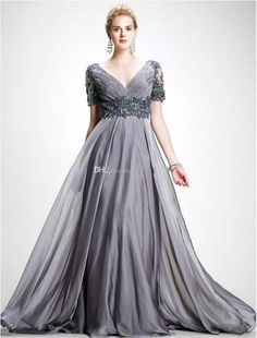 Wholesale 2015 new plus size mother of the bride dress is elegant gray v-neck unbacked formal evening dress floor length chiffon dress with short slee, Free shipping, $115.19/Piece | DHgate Mobile