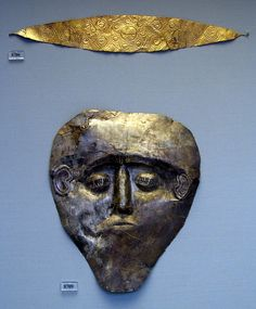 Electrum mask. Grave Gamma, Grave Circle B, Mycenae  Athens National Archaeological Museum