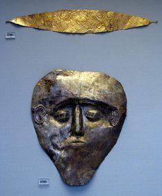 Electrum mask. Grave Gamma, Grave Circle B, Mycenae  Athens National Archaeological Museum