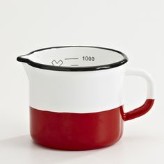* measures up to 1 litre * baked porcelain enamel on steel * oven, stovetop & dishwasher safe * do not microwave Viera, Measuring Spoons, Baking, Red, Blue, Kitchen Stuff, Kitchen Ideas, Enamel Ware, Collections