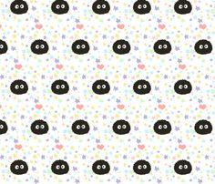 Totoro soot sprites fabric by sbrookshire on Spoonflower - custom fabric