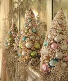 christmas trees decorated with pastel ornaments | Pastel Christmas Trees | Holiday Decorating Ideas