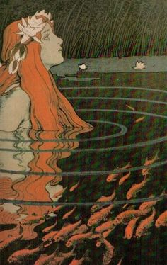 """""""Mermaid in a Pool with Goldfish"""" Franz Hein, 1904 - color lithograph"""