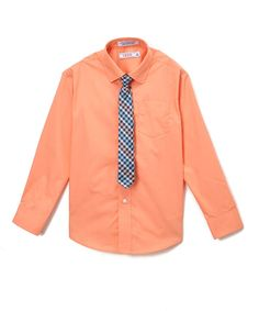 Camelia Button-Up Top & Tie - Boys