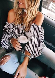 stripe off shoulder + denim