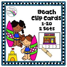 These beach theme counting clip cards are cute counting activities for great math connections in your summer centers. This product is easy to assemble and easy for kids to use. Simply copy, laminate for extra sturdiness, and you have an instant Beacb