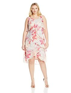 SL Fashions Womens Plus Size Reorder Floral Printed Tiered Dress PinkMulti 14W -- Be sure to check out this.