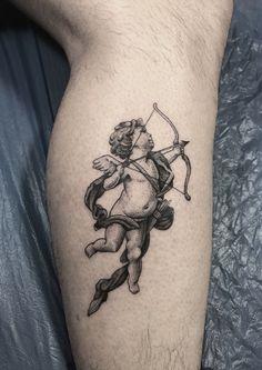 Forearm Sleeve Tattoos, Leg Tattoos, Body Art Tattoos, Tattoos For Guys, Tattoos For Women, Thigh Tattoo Men, Tatoos, Cupid Tattoo, Cherub Tattoo