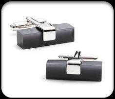 Charcoal Fibre Optic Brick Cufflinks
