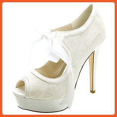 LOSLANDIFEN Women's Peep Toe Lace Pumps Ribbon Bow Platform High Heel Wedding Shoes(3128-15Lace41,mibai) - Pumps for women (*Amazon Partner-Link)