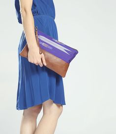 The Belinda Clutch ///// Royal Blue Clutch. Brown by gracedesign,