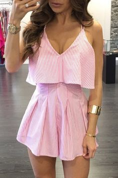I am sure that you will love this sexy romper for summer. It features stripe pattern, V neckline, adjustable straps and sleeveless. Pair it up with nude heels and some jewelry for a perfect outfit. Trendy Fall Outfits, Summer Outfits, Cute Outfits, Cute Rompers, Cute Dresses, Stripe Pattern, Fashion Outfits, Clothes, Women