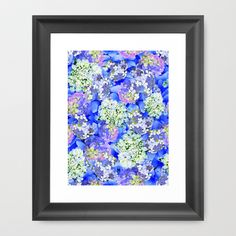 #new #blue #floral #hydrangea #garden #photographic #collage #wall #art for #home #bedroom #apartment #gift by #vikkisalmela on #Society6.