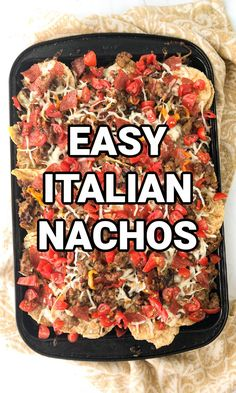 These easy sheet pan Italian nachos are a fun twist on traditional nachos. Packed with all the ingredients of a good sausage pizza or pasta but in sheet pan form so all can share. Makes for a fun dinner or great for party appetizer on game day. Delicious Dishes, Delicious Recipes, Family Recipes, Family Meals, Italian Nachos, Best Sausage, Good Food, Yummy Food