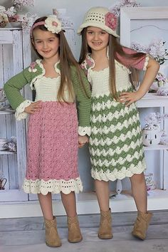 Tea For Two Crochet Pattern - This set has 1 dress body pattern with 2 color scheme options, 2 different dress edgings to choose from, as well as a shrug with choices of long sleeve or short sleeve, and lastly, the option of a hat or headband, both with a gorgeous flower. With so many choices, you will be able to choose the perfect dress for her! Available as a download from www.maggiescrochet.com