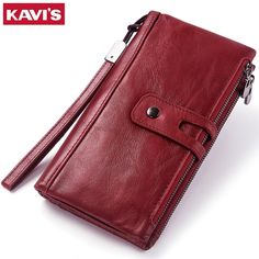 Discount Up to KAVIS Genuine Leather Women Wallet Female Coin Purse Walet Portomonee Clamp For Money Bag Zipper Card Holder Handy Perse and Long Wallet Men, Small Wallet, Cowhide Leather, Cow Leather, Rfid Wallet, Credit Card Wallet, Mini Purse, Womens Purses, Wallets For Women