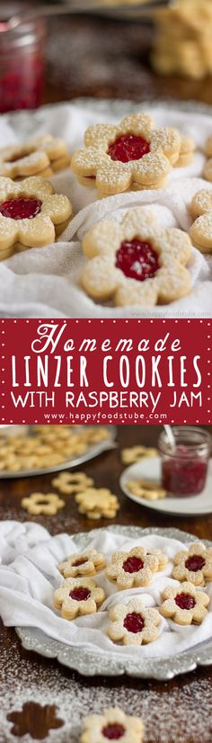Homemade Linzer Cookies with Raspberry Jam. Their rich buttery taste that goes so well with raspberry jam makes them perfect treats for afternoon tea! Only 5 ingredients and ready in 20 minutes | happyfoodstube.com
