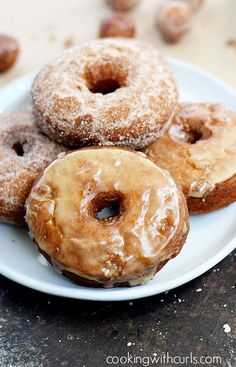 Apple Cider Doughnuts that are light and fluffy on the inside, and crispy delicious on the outside draped in glaze or cinnamon sugar.